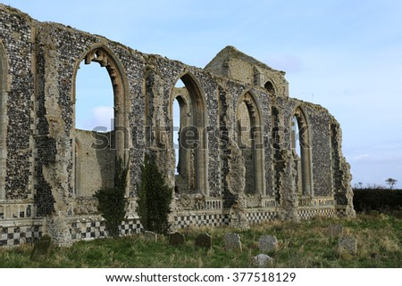 The ruins of Covehithe church in Suffolk, England