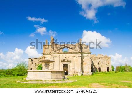 The ruins of famous Monterano village in Lazio. - stock photo