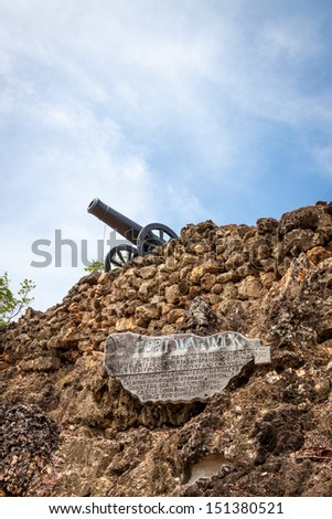 The ruins of Fort Warwick in San Andres, Colombia - stock photo