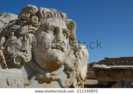 the ruins of leptis magna - stock photo