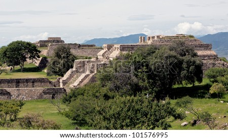 The ruins of Monte Alban, Oaxaca, Mexico - stock photo