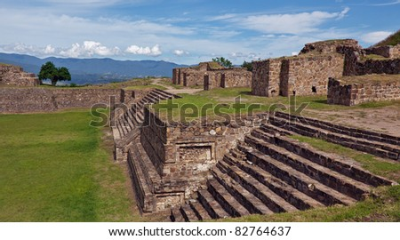 The ruins  of Monte Alban, Oaxaca, Mexico. - stock photo