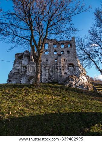 The Ruins of Ogrodzieniec castle - Poland - stock photo