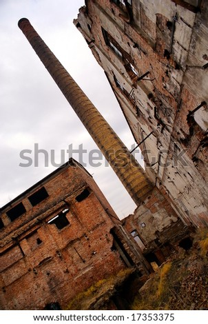The ruins of old paper factory from communistic times in Wloclawek (Europe, Poland) - stock photo