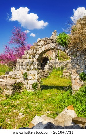 The ruins of Old Town Bar, Montenegro - stock photo