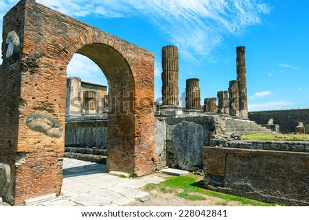 The ruins of Pompeii, Italy. Pompeii is an ancient Roman city died from the eruption of Mount Vesuvius in 79 AD. - stock photo