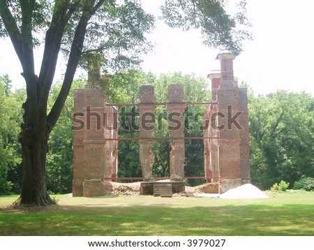 The ruins of Rosewell mansion in Gloucester, VA