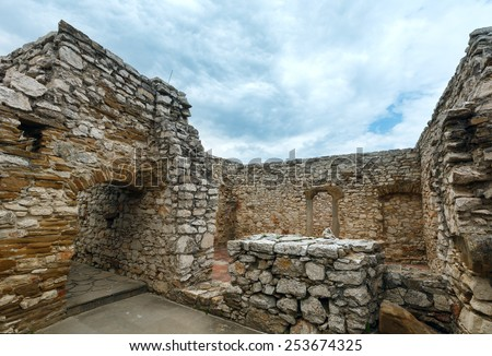 The ruins of Spis Castle (or Spissky hrad) in eastern Slovakia. Built in the 12th century. - stock photo