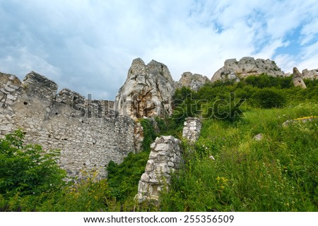 The ruins of Spis Castle (or Spissky hrad) in eastern Slovakia. Summer view. Built in the 12th century. - stock photo