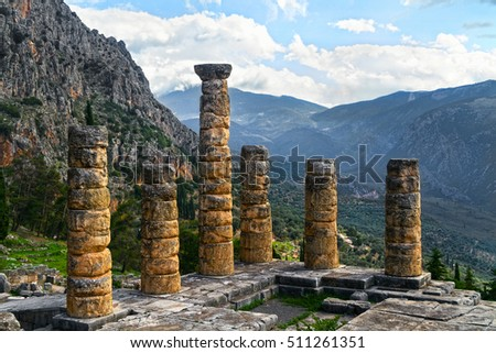 The ruins of Temple of Apollo in the archaeological site of Delphi in Greece