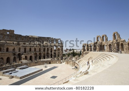 The ruins of the ancient amphitheater in El Jem, Tunisia