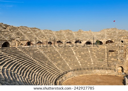 The ruins of the ancient amphitheater in Side, Turkey. - stock photo