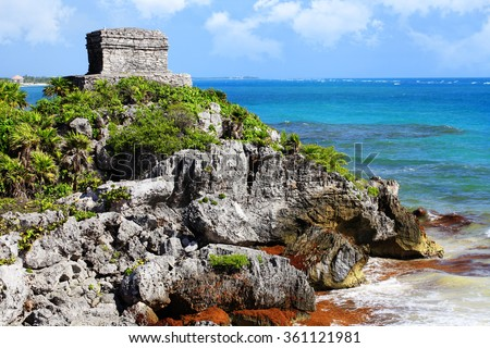 The ruins of the ancient city of Tulum (Mexico), on a cliff above the sea.