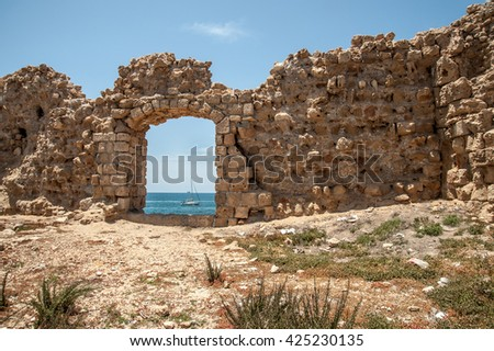 The ruins  of the ancient fortress of Acre in Israel on the Mediterranean Sea  - stock photo