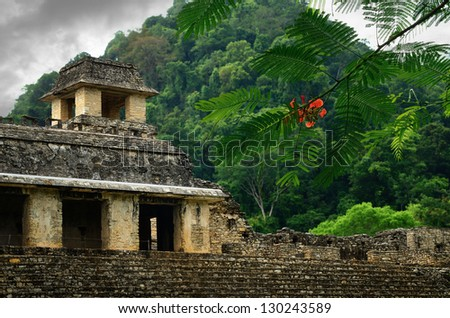 The ruins of the ancient Mayan city of Palenque, Mexico. - stock photo
