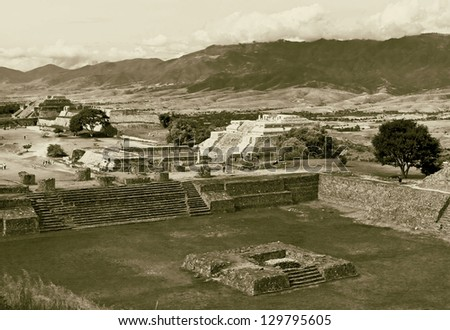 The ruins of the ancient site Monte Alban - Oaxaca, Mexico (stylized retro) - stock photo