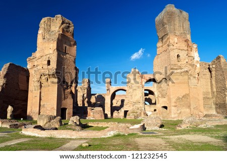 The ruins of the Baths of Caracalla, ancient roman public baths, in Rome, Italy - stock photo