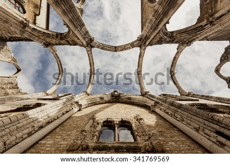 The ruins of the Carmo Church destroyed in the earthquake 1755 Lisbon, Portugal - stock photo