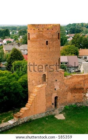 The ruins of the castle of princes of Mazovia, Poland. - stock photo