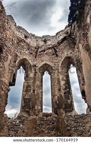 The ruins of the church boat castle Beckov - stock photo