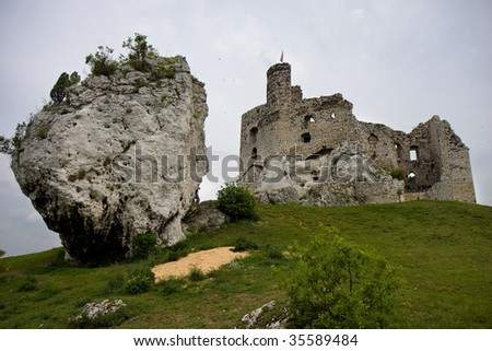 The ruins of the gothic castle. Mirow, Poland - stock photo