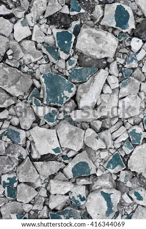 The ruins of the house. Boneless wall. Demolition of the house. Earthquake. Construction garbage. The fallen plaster. Background. - stock photo