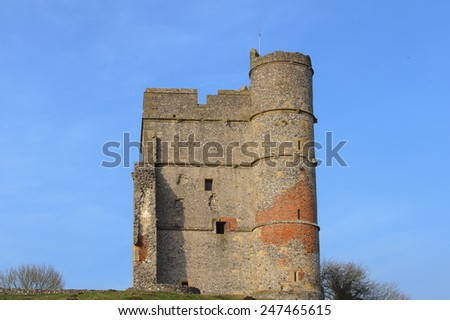 The Ruins of the Medieval Castle Donnington, overlooking the Lambourn Valley, situated in the Small Rural Village of Donnington, near Newbury, Berkshire, England, UK - stock photo