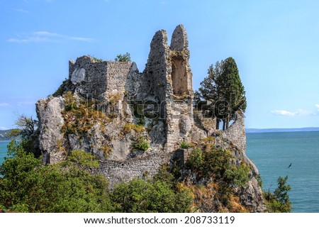The ruins of the old Duino Castle near Trieste, Italy. - stock photo