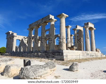 The ruins of the Temple of Apollo Aegina - stock photo