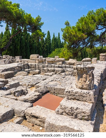 The ruins of the Temple of Athena Polias at Filerimos Rhodes Greece Europe - stock photo
