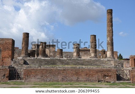The ruins of the temple of Jupiter in Pompeii, Italy - stock photo