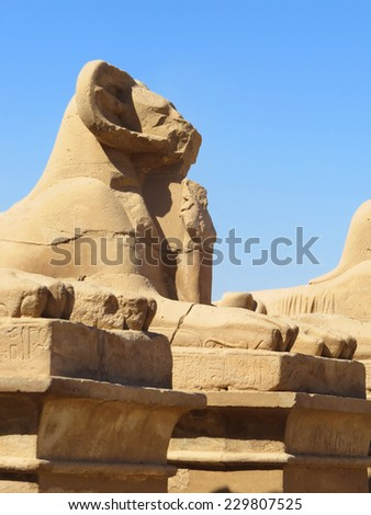 The ruins of the temple of the memorial complex of Karnak. Avenue of sphinxes with rams' heads.  Luxor. Egypt. - stock photo