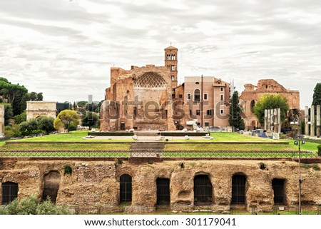 The ruins of the temple of Venus in Rome, Italy - stock photo
