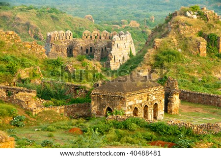 The ruins of the Tughlaqabad Fort in New Delhi, India - stock photo