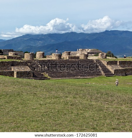 The ruins of the Zapotec city of Monte Alban, Oaxaca, Mexico. - stock photo
