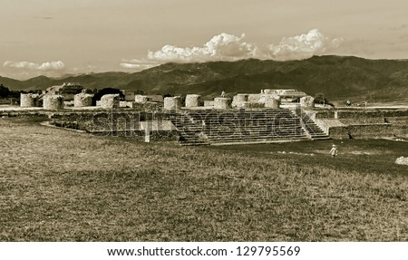 The ruins of the Zapotec city of the Monte Alban - Oaxaca, Mexico (stylized retro) - stock photo