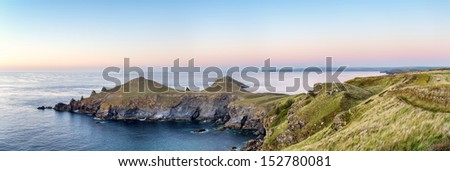 The Rumps on the Pentire headland on Cornwall's Atlantic coast - stock photo