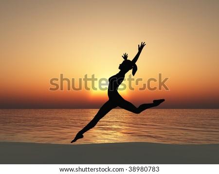 The running woman on coast of ocean. A sunset - stock photo