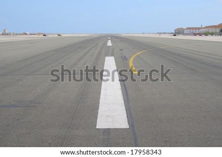 The runway of Gibraltar - stock photo