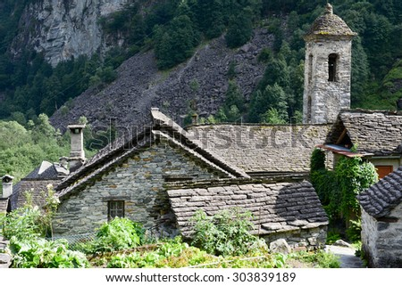 The rural village of Foroglio on Bavona valley, Switzerland