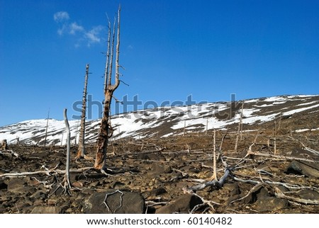 The Russia. The Kola peninsula. Consequences of activity of metallurgical factory. - stock photo