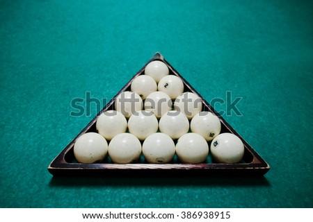 The russian billiards balls in triangle - stock photo