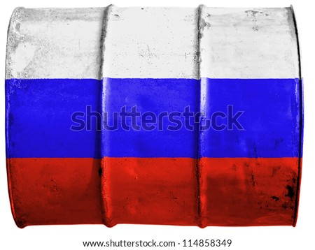 The Russian flag painted on oil barrel - stock photo