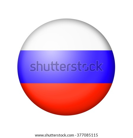 The Russian flag. Round matte icon. Isolated on white background. - stock photo