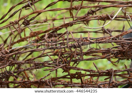 The rusty barbed wire - stock photo