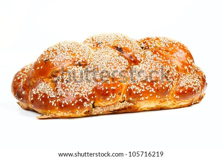 The sabbath challah isolated on white background - stock photo