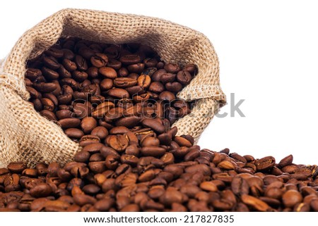 The sack of coffee beans on white background - stock photo