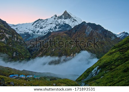 The Sacred Fishtail Mountian (Machhapuchre), early morning, in Annapurna Range, Nepal - stock photo