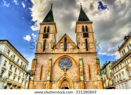 The Sacred Heart Cathedral in Sarajevo - Bosnia and Herzegovina - stock photo