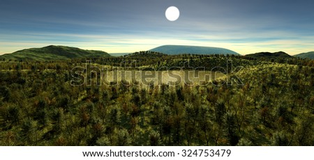 The sacred lake at the height of the hill in the autumn time. The light of day. The sun is highest above the horizon. Most vegetation. Forest, grass, stones, lake. 3D Illustration, 3D rendering - stock photo
